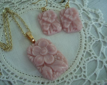 Vintage 1920's Opaque Pink Glass Gold Earrings Matching Necklace Bohemian Gablonz Floral Angelskin Demi Parure