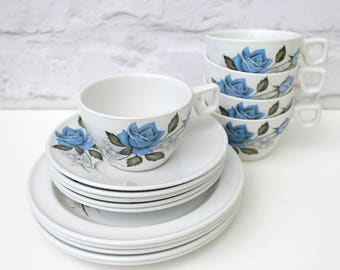 Vintage Teacups, Vintage Tea Set, Afternoon Tea China, Blue Rose Tea Cup, Snowdrop Tea Set, Blue and White China, Vintage Wedding Tablewear