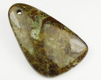 Green Snake Skin Pendant Bead - 50x32x7mm