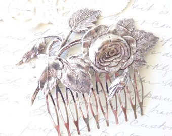 Sterling Silver Plated Cabbage Rose Hair Comb - Rose Leaf Silver Hair Comb - Rose Blossom - Wedding Hair - Bridal Hair
