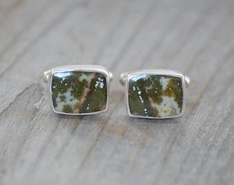 sold - Ocean Jasper Cufflinks Set In Sterling Silver, Gemstone Cufflinks For Him, Wedding Gift Handmade In The UK