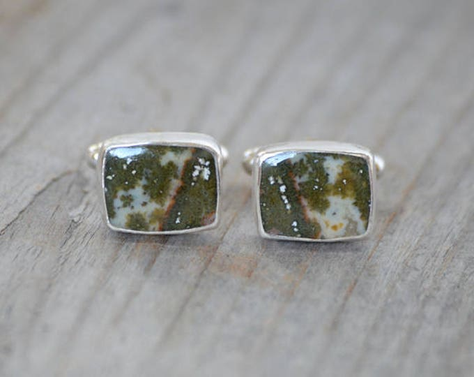 Ocean Jasper Cufflinks Set In Sterling Silver, Gemstone Cufflinks For Him, Wedding Gift Handmade In The UK