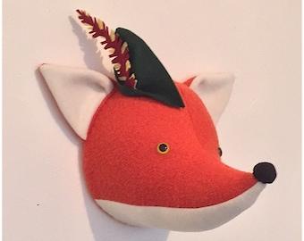 Fox head faux taxidermy, wall mount. Fox bust, nursery decor