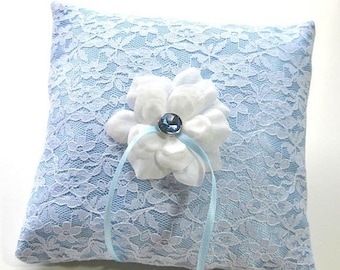CLOSEOUT SALE Ring Bearer Pillow Blue Satin in White Lace with white rose center, wedding pillow