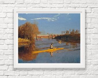 Thomas Eakins - The Champion Single Scull - 1871 - Charles River - Boston - Massachusetts - Painting - Rowing - Rowing Art - Crew - Crew Art