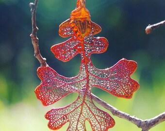 Copper Oak Genuine leaf Pendant