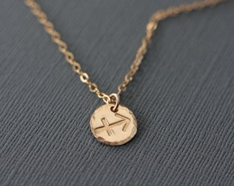 Sagittarius Necklace - Gold Filled Hand Stamped Zodiac Sign Jewelry