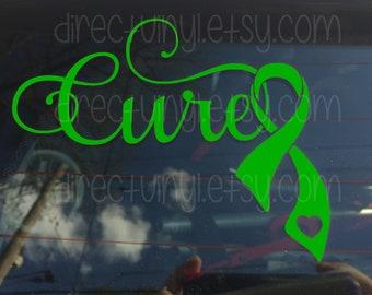 Fancy Cure with Green Ribbon Window Decal (cerebral palsy, brain injury, celiac disease, lyme disease)