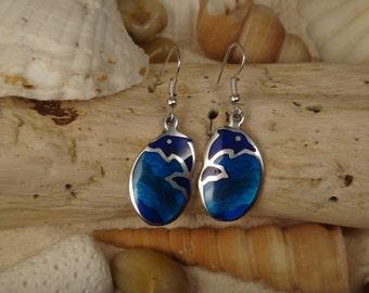 Dolphin  Jeweltone Resin Mosaic Earrings