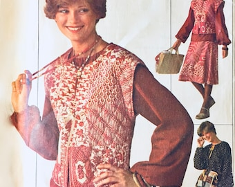 Simplicity 7568 - Size 12-14 - UNCUT - Bust 34-36 - 1970s Blouse with Vest -  Two Lengths of Full Skirt Pattern - Vintage Sewing Pattern