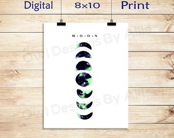 Printable 8 x 10 Moon Phase Blue,Green/Poster Wall Decor
