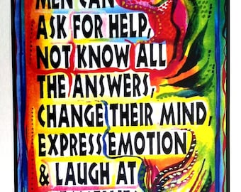 WHAT MEN CAN Do Inspirational Quote Affirmation Poster Motivational Office Decor Original Family Freedom Heartful Art by Raphaella Vaisseau