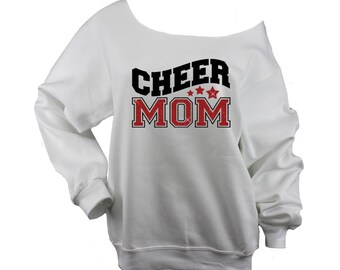 Cheer Mom Sweatshirt Off Shoulder, Raw Edge, Cheer shirt, cheerleader, plus sizes available (BD947) 562 white