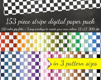 80% OFF SALE Digital Scrapbook Checkerboard Paper Pack - 50 Colors + Overlay to DIY - Digital Scrapbook Paper Digital Paper Pack Plaid Check