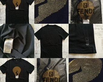 Fendi Black Embellished Bulb Men T-Shirt,Tops size:S