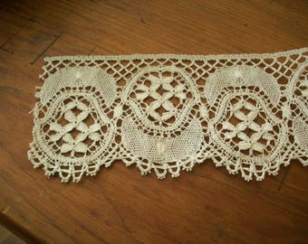 """Antique hand done lace 1800s 2 7/8"""" wide x 85"""" long"""