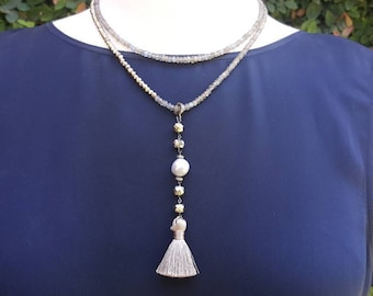 Labradorite and Pyrite  Beaded Necklace - Silver Pearl Necklace - Tassel Necklace - Layering - Pave Diamonds - Boho Jewelry - Long Necklace