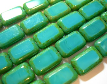 Czech Glass Turquoise Picasso Rectangles 8x12mm - 15 beads