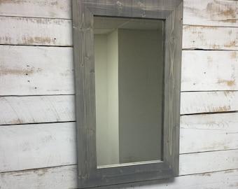 Rustic Mirror - Rustic Decorative Mirror -Bathroom Mirror-Vanity Mirror- Wooden Mirro -Wood Mirror-Wall Mirror-Mirror-Weathered Wood Mirror