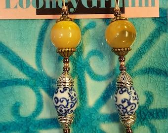 Ochre agate lotus earrings