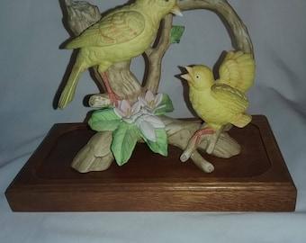 Vintage Royal Crown Yellow bird display with wooden base, signed J. Bryon,Royal Crown bird figurine