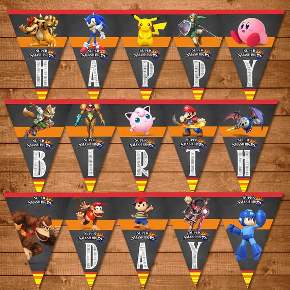 Super Smash Brothers Birthday Banner Super Smash Brothers