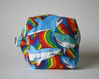 Sharky Pride Sock Cube Knitting & Crochet Project/Toiletry Box Bag
