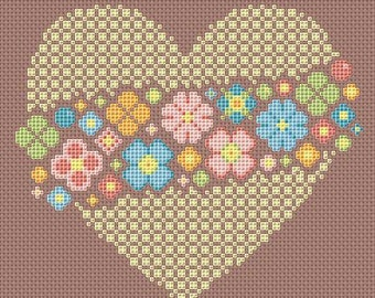 Cross stitch pattern, lace heart, floral embroidery, pastoral flowers