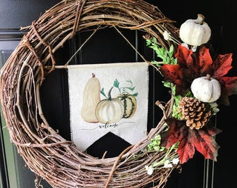 Welcome Sign Autumn Welcome Sign Pumpkin Front Door Fall Wreath Sign White Pumpkin Decor Front Door Decor Autumn Decor Fall Decor Farmhouse