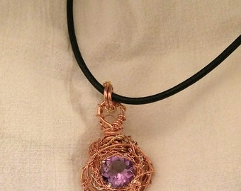 14 mm Faceted Round Amethyst Wire Wrapped Pendant