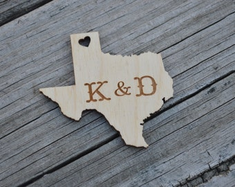 Personalized Wood Texas Favor Tags, Texas Shaped Wedding Favors, Engraved Texas Favors, Texas Wedding Favors, Personalized Texas Favors