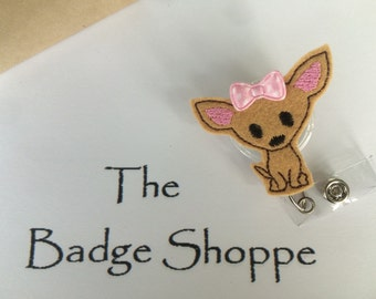 Chihuahua with Bow on a Retractable ID Badge Holder