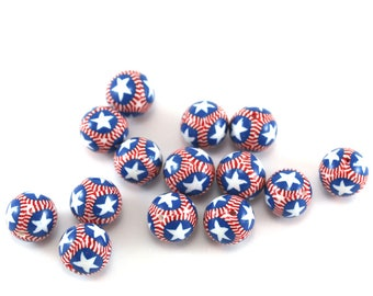 patriotic round beads, USA flag beads, Independence Day, stars and stripes beads, American flag beads, 4th of July, polymer clay star beads