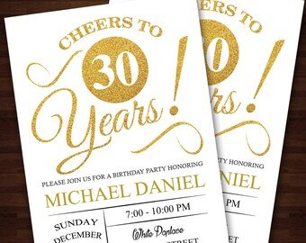 30th birthday for him invitation Etsy