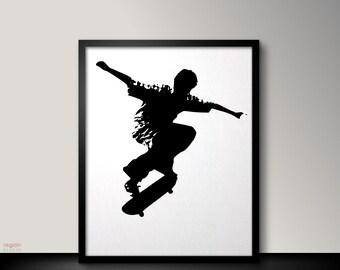 Skateboard art, Jump, Skateboard wall art, Skateboard poster, Skateboard decor, Kids wall art, Black and white printable wall art,Kids gifts