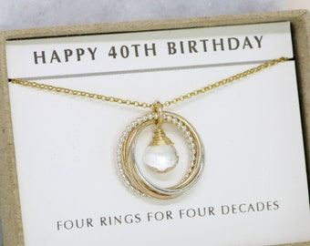 40th birthday gift, April birthstone necklace 40th, rock crystal necklace for 40th birthday, gift for wife, sister, mom - Lilia