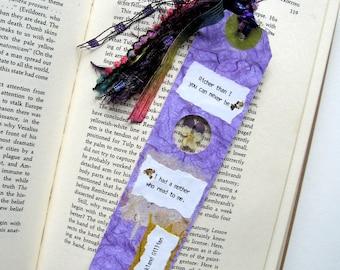 Richer than I - Earth Bookmark - handmade paper, pressed flower, viola, purple, book lover, reader, librarian, teacher gift, graduation gift