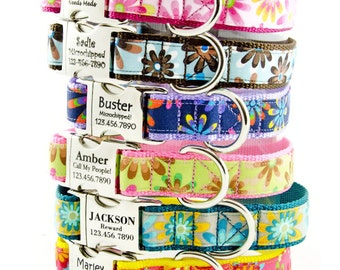 Flower Power Personalized Dog Collar, adjustable,  with Custom Laser Engraved Pet ID, Perfect for Large Dog, Small Dog, Girl Dog
