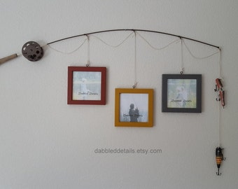 Fishing Pole Picture Frame - Brown or Silver Pole - 3 - 5 in x 5 in Picture Frames - Heritage Brick, Antique Gold, Gray