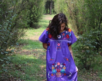 Purple and multi colored embroidery Puebla Dress