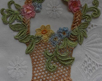Hand Painted Venice Lace Applique for Crazy Quilting  Basket of Flowers