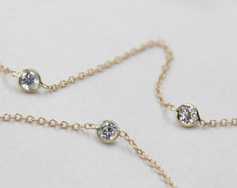 14k solid gold by the yard necklace white sapphire necklace station necklace