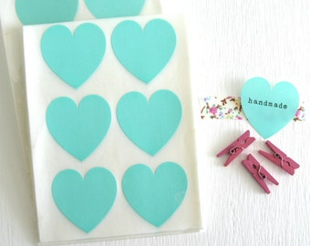 SALE ~ Teal Heart Stickers 24 Count | Heart Envelope Seals | Large Heart Stickers 1 1/2""