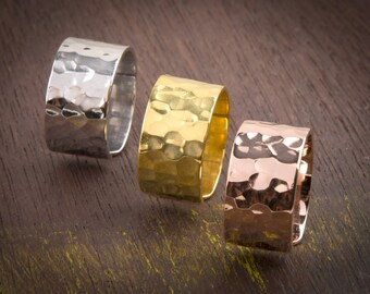Hammered Wide Band, Wide Band Ring, Gold Band Ring, Adjustable Ring, 925 Sterling Silver, 10mm wide(big)