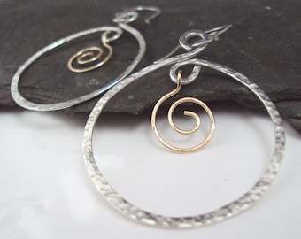 Hand Hammered Sterling Silver Hoops, Sterling Hoop Earrings, Silver and Gold, Gold Swirl