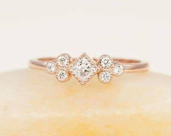 Rose Gold Diamond Ring.Minimalist Engagement Wedding Ring.0.30ct Natural Diamond Bezel Ring.Square Bezel Wedding Ring.Dainty Cluster Ring