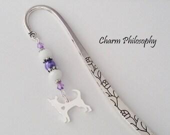 Chihuahua Bookmark - Silver Dog Love Charm - Unique Beaded Charm Bookmark - Chihuahua Lover Gifts