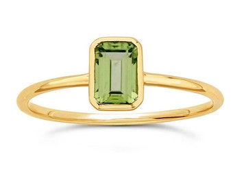 Peridot 14K Gold Ring, Emerald Cut Gemstone, Birthstone Ring, Slim Band, Alternative, Octagon, Yellow Gold