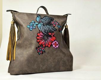 Leather Tote Bag, Large Bag, Grey Leather Tote Bag, Casual Bag, Large Casual Tote Bag, Grey Artificial Leather Shoulder Bag, Bird Motive
