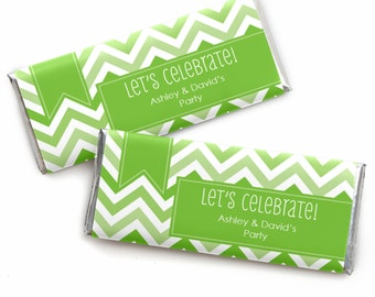 24 Chevron Green Custom Candy Bar Wrappers - Personalized Baby Shower,  Birthday Party, or Bridal Shower Favors